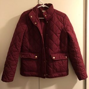 J Crew Quilted Burgundy Jacket Size Small